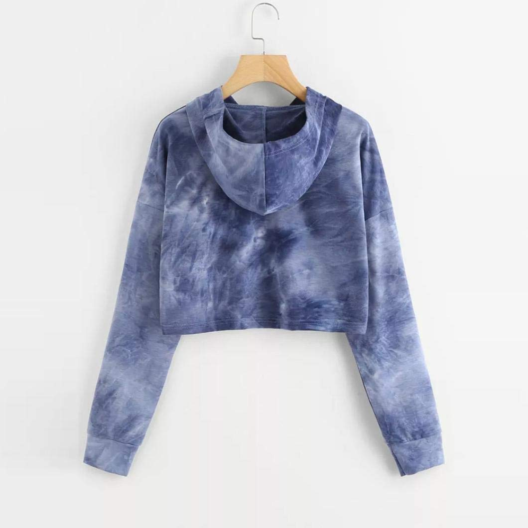 OPAKY Womens Short Hoodie Sweatshirt Long Sleeve Pullover Tops Blouse