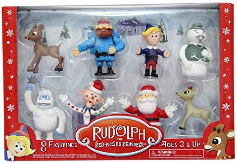 Rudolph Red Nose Reindeer 8Pc Ornament Set Bumbles Yukon Cornelius Hermey Charli
