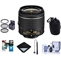 Nikon AF-P DX NIKKOR 18-55mm f/3.5-5.6G Zoom Lens - U.S.A. Warranty - Bundle with 55mm Filter Kit, Lens Pouch, Lens Wrap (15x15), Cleaning Kit, Cap Leash, Software Package