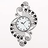 YAOHAOHAO Crystal Iron Wall Clock Mute modern lounge of the wall stickers, for the'salon The Bedrooms Office