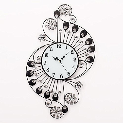 YAOHAOHAO Crystal Iron Wall Clock Mute modern lounge of the wall stickers, for the'salon The Bedrooms Office by YAOHAOHAO (Image #1)