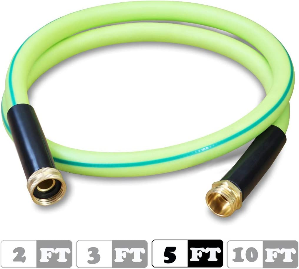 Atlantic Premium Hybrid Heavy Duty Garden Hose 5/8 IN.x5 FT. Brass Fittings Light Weight and Coils Easily, Kink Resistant