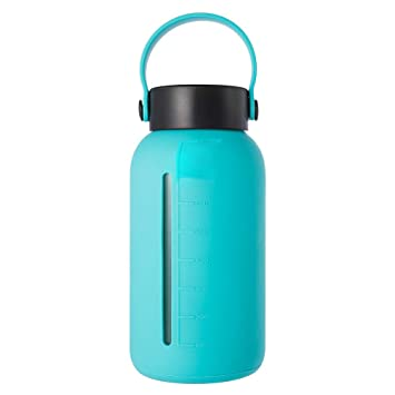 ec901643ff7a MIU COLOR Glass Water Bottle 30 oz, Wide Mouth Glass Water Bottle with  Silicone Sleeve Stainless Steel Leak Proof Lid, Borosilicate Glass Bottle  with ...