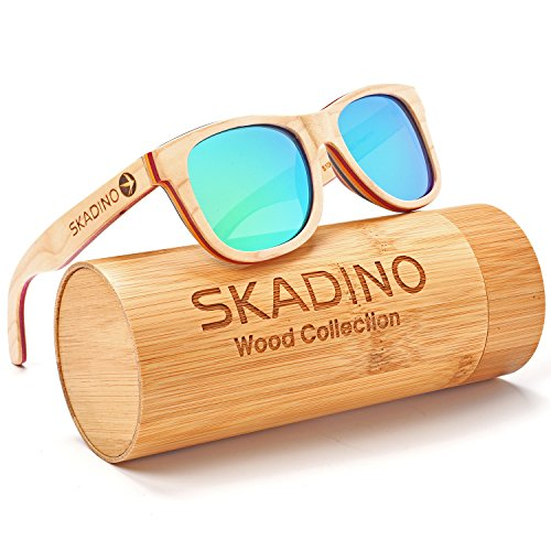 SKADINO Handmade Skateboard Wood Sunglasses with Green Mirror Polarized Lenses for Men or Women in a - Bans Boys In Ray