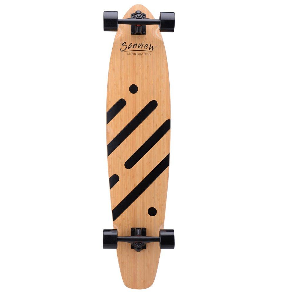 Sanview Bamboo Drop Through Longboard Skateboard Cruiser (Black Line)