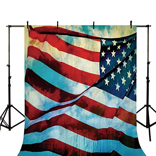 (American Flag Decor Stylish Backdrop,American Flag in The Wind on Flagpole Memorial Patriot History Image for Photography,118