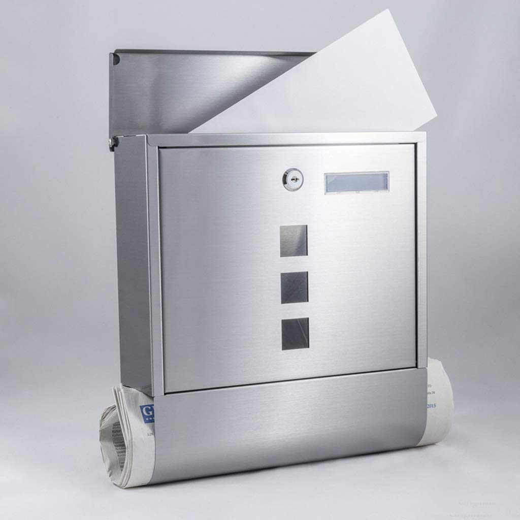 HZB ステンレス製の新聞箱、屋外ヴィラ、壁掛け、ロック、レインプルーフポストボックス、ポストボックスマガジン提案箱。   B07H84F151