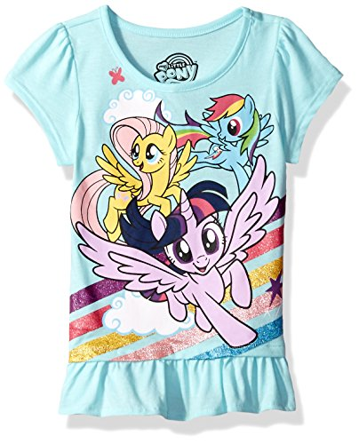 My Little Pony Little Girls' Short Sleeve Pullover, Aqua, 6