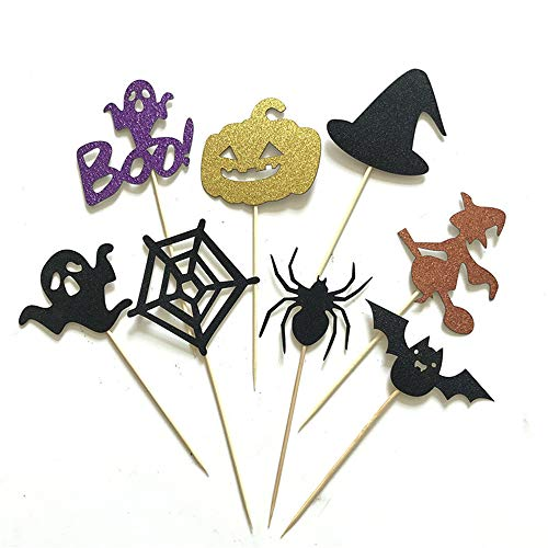 aliveGOT Halloween Cupcake Toppers Glitter Cake Topper Picks Cake Party Decoration