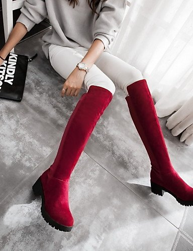 XZZ    Damenschuhe - Stiefel - Kleid   Lässig - Vlies - Blockabsatz - Rundeschuh   Modische Stiefel - Schwarz   Braun   Rot B01L1GJ86I Sport- & Outdoorschuhe Preisrotuktion e7569a