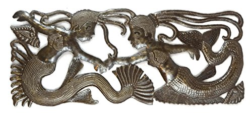"Sea Sisters, Mermaid Metal Wall Decor, Haiti Steel Drum Art 17.5"" X 7.25"""