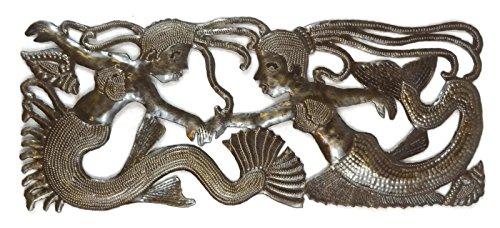 "Sea Sisters, Mermaid Metal Wall Decor, Haiti Steel Drum Art 17.5"" X 7.25"""