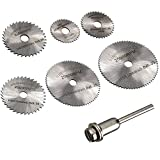 Migiwata HSS Mini Circular Saw Blades Set of 7pcs with 1/8' Straight Shank Mandrel for Dremel Fordom Electrical Grinding Machine Rotary Tool