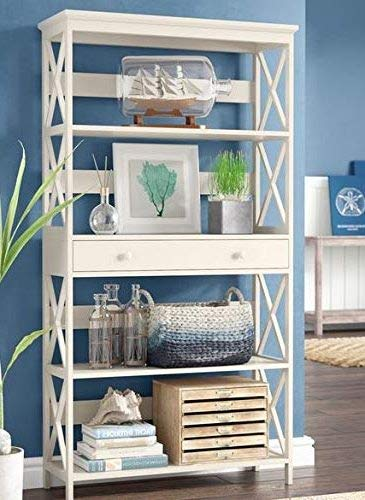 (White Wood X-Frame Side Braces with Five Shelves One Drawer Etagere-Book Cases Shelves-Bookself-Display Space to Showcase Your Books)