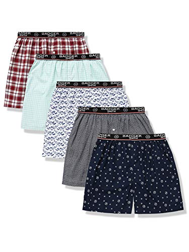 - Badger Smith Men's 5 - Pack 100% Cotton Print and Plaid Multicolor Boxer Shorts Extra Large