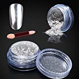 Elite99 Metallic Nail Chrome Powder,Shinning Mirror Effect Nail Polish Glitter Powder,1g Silver Chrome Powder+Sponge Stick Makeup Manicure DIY Kit