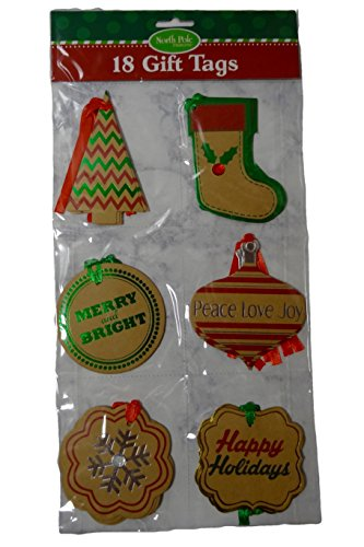 "Large 3.5-4"" Holiday Kraft Gift Tags with Foil Embellishment"