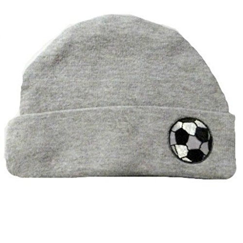 Jacqui's Baby Boys' Heather Gray Hat with Soccer Ball, 3-6 Months