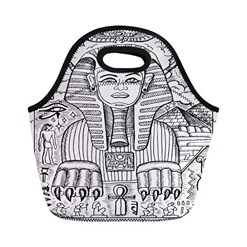 Semtomn Lunch Tote Bag Sphinx Egyptian Mythological Creature Human Head and Lion Body Reusable Neoprene Insulated Thermal Outdoor Picnic Lunchbox for Men Women