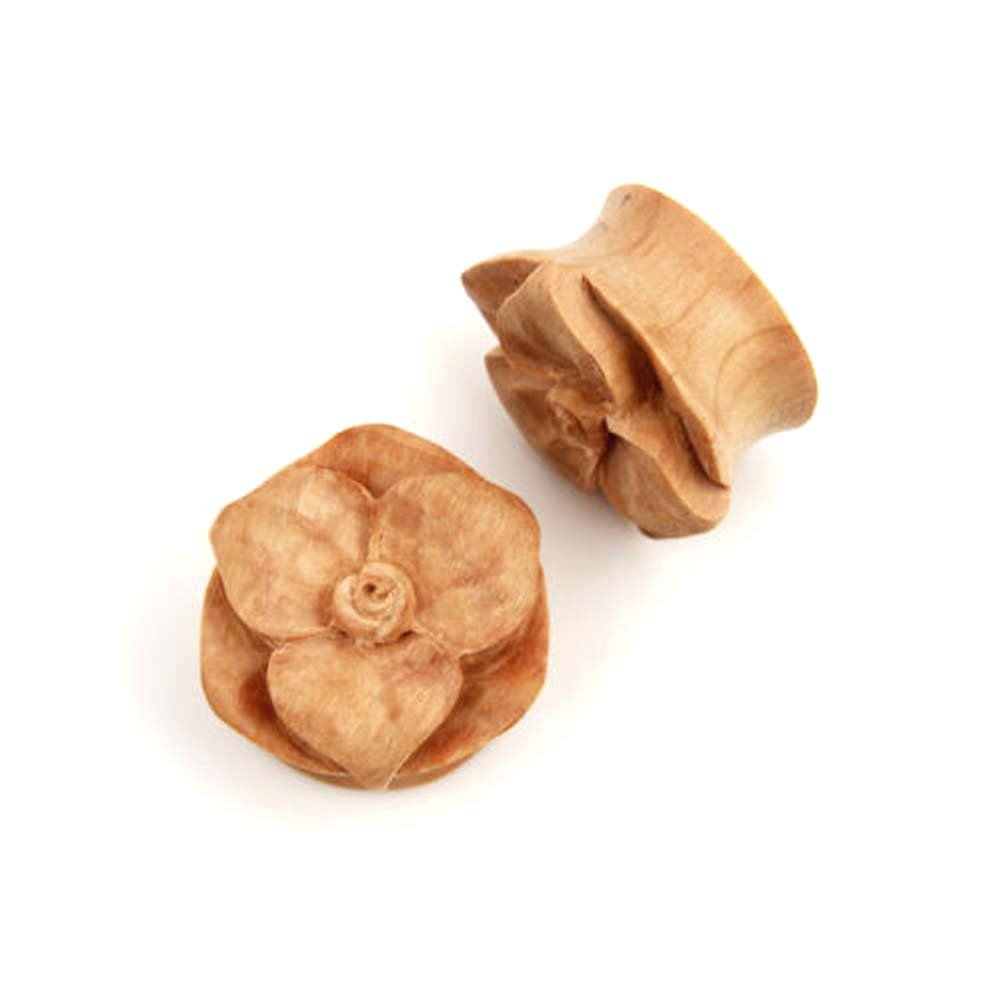 Pair Flower bud Hand Carved Floral Organic Crocodile Wood Ear Plugs Gauges