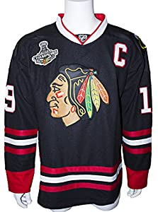 Jonathan Toews Center Ice Black 2015 Stanley Cup Champions Jersey Size Large