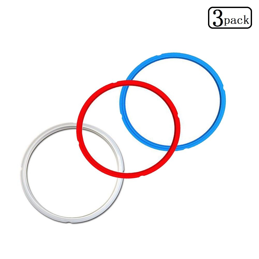 Silicone Sealing Ring 8 Quart,3 Pack Red,White,and Blue Sealing Ring,Leak Proof & BPA-FREE for IP Pot IP-DUO 80