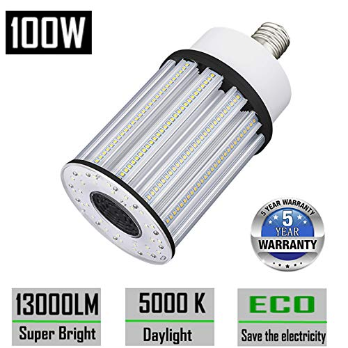 - 100W LED Corn Bulb, E39 Mogul Base LED Bulbs  5000K Daylight 13000Lm Replacement (400- 600W) Metal Halide HID/CFL for High Bay Parking Lot Factory Garage Warehouse Lights 100--305Volt