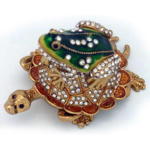 Frog Trinket Box Swarovski Crystals ([NEW] Jewelry Trinket Box Figurine Case Vintage Collectible for Keepsake Art Decor Holder Organizer, Magnet Secured Storage w/ Swarovski Crystals ( Dolphin / Turtle / Fish ) (Turtle - With Frog))