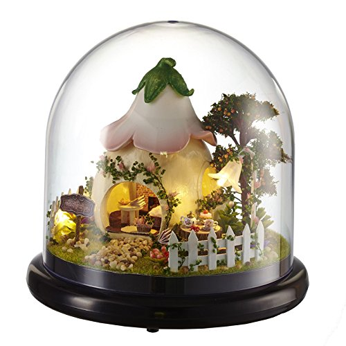 TAC STORE DIY Doll House Cabin Glass Ball Model - DIY Assembling Model - 3D Puzzle Home Decor - Dollhouse Toy Glass Ball Wooden Mini Hut with Assembly Hut Home -