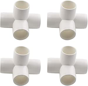"SDTC Tech 4-Pack 3/4"" 4 Way PVC Fitting Elbow Furniture Grade Pipe Connector for DIY PVC Shelf Garden Support Structure Storage Frame, White"