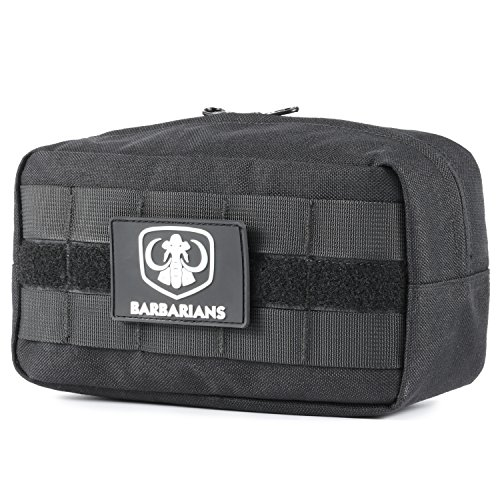 Velcro Attachment (Tactical MOLLE Utility Pouch Compact Horizontal, Barbarians EDC Multi-purpose Admin Pouch Bag Black)