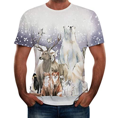 (KLGDA Summer Men's Fashion Round Neck Blouse Ice and Snow Print Short Sleeve Leisure Top)