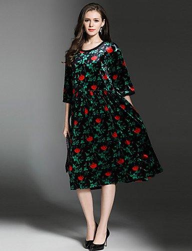 Fiesta Green Suelto Mujer Jiale3536 longitud Longitud Partido La 3 Floral Cuello de Rodilla Mangas Redondo Vestido 4 De Con Mujer 5qwx8gqH