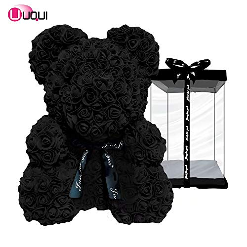 U UQUI Rose Bear Teddy Forever Artificial Flowers The Best Gifts for Valentine's Day, Anniversaries, Birthdays, Weddings and Mother, Black | Small -