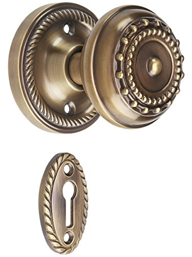 Rope Rosette Mortise-Lock Set with Meadows Design Knobs in Antique-by-Hand. ()