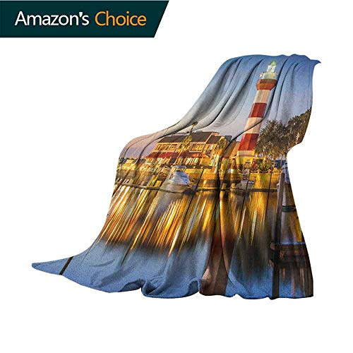 (United States Cool Blanket,Hilton Head South Carolina Lighthouse Twilight Water Reflection Boats Idyllic Comfortable Soft Material,give You Great Sleep,70