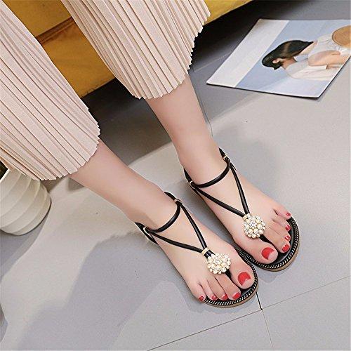 YMFIE Taladro de Agua Perla Bohemia Sandalias de pie Simple Moda Verano Zapatillas de Fondo Plano Dama Calzado de Playa. black