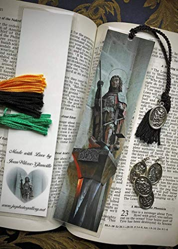 (QVIS UT DEUS Archangel Michael Mont St. Michel Normandy France Europe Gothic Medieval Abbey Architecture Fine Art Photography Photo Laminated Handmade Catholic Religious Bookmark w St. Michael Medal)