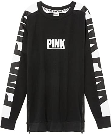 Victorias Secret Pink New Oversize Varsity Sweatshirt Side-Zip Black//White NWT Medium
