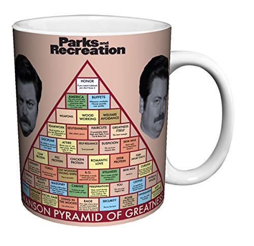 Parks and Recreation Ron Swanson Pyramid Workplace Comedy TV Television Show Ceramic Gift Coffee (Tea, Cocoa) Mug, 11 Ounce