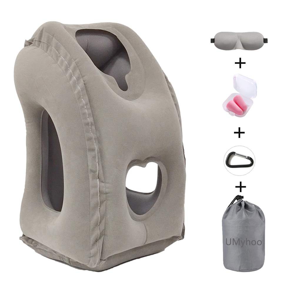 Inflatable Travel Pillow,Portable Airplane Neck Pillow Used for Airplanes/Cars/Buses/Trains/Office Napping/Camping with Head & Neck Support (Gray)