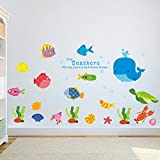 Chiam-Mart 1 Pc Undersea Fish Whale Kitchen Room Bathroom Seashore Wall Stickers Flower Animals Moon Star Decals Girls Bedroom Bumper Decal Authentic Fashionable Vinyl Mural Art Decor
