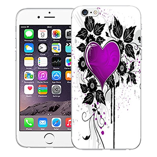 "Mobile Case Mate iPhone 6 Plus 5.5"" Silicone Coque couverture case cover Pare-chocs + STYLET - Purple Cupid Heart pattern (SILICON)"