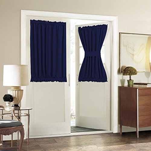 Aquazolax Plain Blackout Door Panel Curtain Readymade Privacy - 1 Piece, 54 by 40 Inches, Navy (Door Coverings)