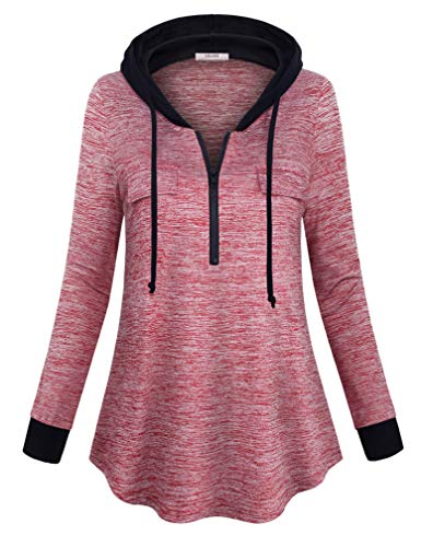 Vivilli Tunic Hoodie for Women, Juniors Casual Long Sleeve Loose Fit Top Comfort Lightweight Hooded Pullover Tunic Shirts Multicoloured Red XX-Large