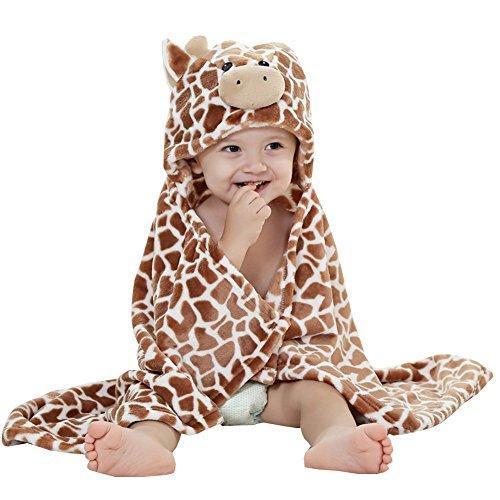 Baby Cartoon Swaddle Wrap Newborn Infant Hooded Blanket Sleeping Bag (Brown)