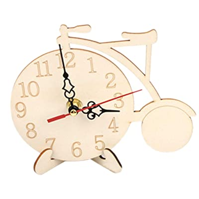 YOUSIKE Clock Model Wood White Blank Children Kids DIY Hand Painting Coloring Snowflake Mud Kindergarten Art Making Materials Bicycle Clock: Toys & Games