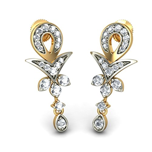 14 K Or jaune 0.49 CT TW White-diamond (IJ | SI) Pendants d'oreilles