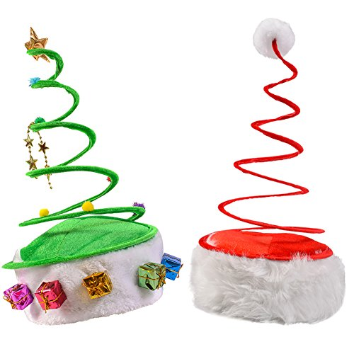 Funny Christmas Costumes Adults (Red Coil Santa Hat and a Green Coil Christmas Tree Hat)