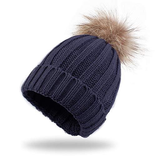 Warm Knitted Baby Beanie Classic Winter Kids Hat with Pompom Toddler Boys Girls Cap (Children Hat, Navy Pompom)